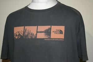 The North Face Outdoor T-Shirt - Size XL - Grey - Logo Print Mountain Hiking Top