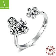 925 Sterling Silver Cute Bee & Poetic Daisy Flowers Open silver Rings for women