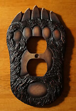 BLACK BEAR PAW OUTLET WALL PLATE COVER Rustic Lodge Log Cabin Home Decor NEW