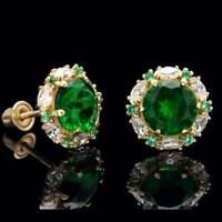 2.00 CT Green Emerald Halo Marquise Diamond Stud Earrings 14k Yellow Gold Over