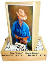 """Professional Dominoes  Double Nine w/spinners. """"Gallero"""" Oil painting on Top."""
