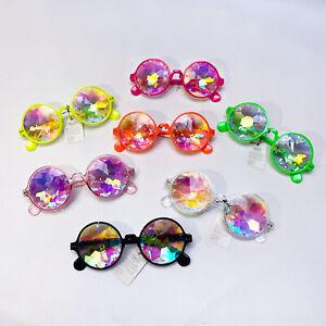 Kaleidoscope Round Sunglasses Festival Rave Diffracted Prism Rainbow Hippy