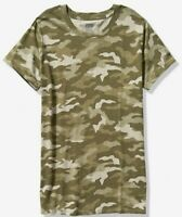 NWT PINK VS VICTORIA'S SECRET CREW TEE TSHIRT GREEN CAMO MEDIUM FREE SHIPPING