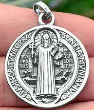 Médaille de Saint Benoît Benedict Medal Large Antique Sterling Silver Argent 925