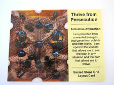 THRIVE FROM PERSECUTION Grid Card Crystal Healing Cardstock 4x5inch OWL Protect