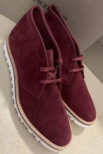 New $695 Giorgio Armani Mens Suede Boot Shoes Burgundy 11.5 US/10.5 UK X2M268