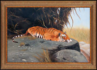 Ray Jacob Rare Original Oil Painting on Canvas Signed Tiger Wildlife Large Art