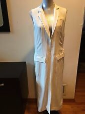 New DKNY Pure White Sleeveless Full Length Cardigan Sleeveless Coat Jackt Size S