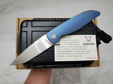RARE CUSTOM RASK M390BLADE BLUE TWILL PATTERN TITANIUM TACTICAL POCKET KNIFE NIB