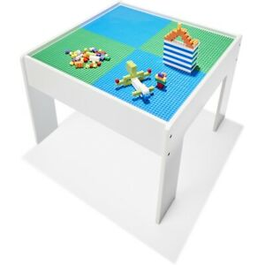 New Kids Wooden Construction Table With Storage 2 Base Color Play Craft Work F2