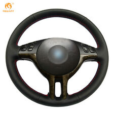 Black Leather DIY Steering Wheel Cover for BMW E39 E46 325i E53 X5 #0124