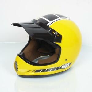 Motorcycle Helmet Cross Vintage Torx Brad Legend Racer Yellow Shiny Taille XL