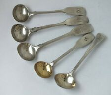 5 Antique Georgian-Victorian Solid Sterling Silver Salt/ Condiment Spoons/ 66 g
