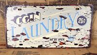 COIN LAUNDRY Poster Retro Tin Painting METAL LICENSE PLATE HOME BAR Sign DECOR