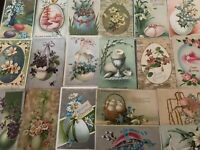 LOT of 21~Pretty Antique~ POSTCARDS all with EASTER EGGS~Flowers-eggs-a697