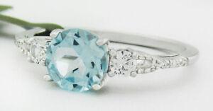 GENUINE 1.12 Cts BLUE TOPAZ & DIAMONDS RING 10K GOLD *Free Certificate Appraisal