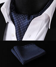 Hisdern Men Ascot Tie Navy Blue Polka Dot Scarf Pocket Square Set#RD103BS