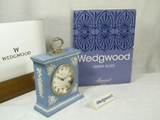 """Wedgwood """" Blue Jasper Ware """" Greek Mantle Clock, Boxed and-un-used Excellent !!"""