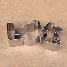 Hot Stainless Steel Cookie Cutter LOVE Letter Forms Biscuit Cake Mould Tool