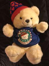 "18"" 1986 VINTAGE 1989 KMART CHRISTMAS SANTA CLUB TEDDY BEAR STUFFED ANIMAL PLUSH"