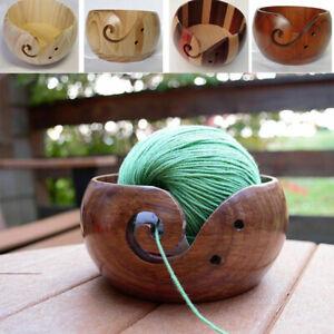 Crochet Wooden Yarn Bowl Holder Knitting Skeins Storage Non-Slip Home Supplies