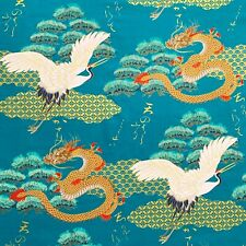 Japanese cranes and dragons fabric, turquoise asian chinese oriental cotton