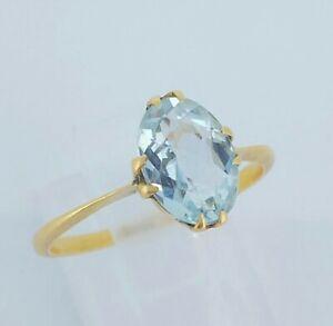 Beautiful 18ct Yellow Gold & Natural Aquamarine Solitaire Engagement Ring UK M/N