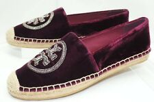 New Tory Burch Logo Chain Espadrille Shoes Size 10 Ballet Flats Velvet