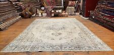 Beautiful Late 1930's Antique Muted Natural Dye, Wool Pile Oushak Area Rug 6x9ft
