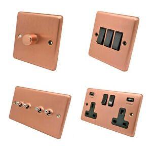 Brushed Matt Satin Copper Plug Sockets Light Switches Dimmers - Whole Range B