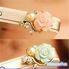 New Crystal Rose Flower 3.5mm Anti Dust Earphone Plug Cover Cap For Phone