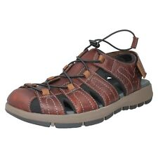 4a2a31abf996 Mens Clarks Closed Toe Speed Laces Casual Leather Sandals Style - Brixby  Cove Dark Brown Leather