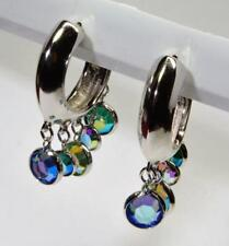 New Marked SWAN Silvertone Green Blue Dangle SWAROVSKI Crystal Pierced Earrings