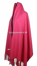 """New Large 80""""x28"""" 4-Ply 100% Pure Cashmere Luxurious Women Shawl Wrap, Hot Pink"""