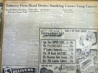 1953 hdl newspaper TOBACCO COMPANY HEAD says CIGARETTES DO NOT CAUSE LUNG CANCER