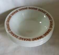 4 Pyrex Copper Filigree Milk Glass Bowls for Salad, Cereal #707-20