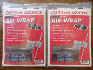 """Lot 2 Office Depot 10-Pk 12""""X10"""" Air-Wrap Inflatable Void-Fill Packaging"""