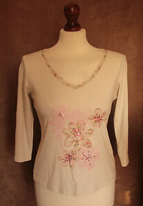 3/4 Sleeve Cream Top with Flower Design - Size 10/12 - Marks & Spencer