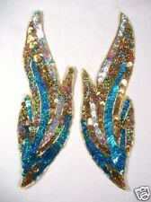 "0173 TURQUOISE FLAME MIRROR PAIR BEADED SEQUIN APPLIQUES 9.5"" BELLY DANCE MOTIFS"