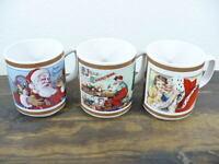 "Christmas set of (3) mugs 3-1/2"" with Santa Claus Shoppe name"