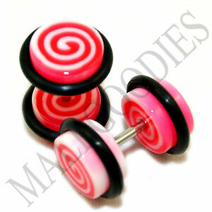 0125 Fake Cheaters Illusion Faux Ear Plugs 16G White & Pink Spirals Swirl 0G 2pc