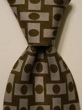 GENE MEYER Men's 100% Silk XL Necktie ITALY Luxury Geometric Green/Gray GUC Rare
