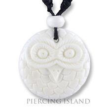 Eule Owl Amulett Anhänger mit Band Halskette Bone Knochen PB348