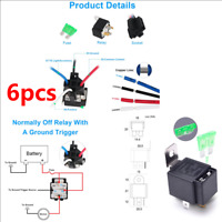 6Pcs Car Relay Switch Harness Set 12V 4PIN 30AMP Fuse Holder 14AWG Hot Wire