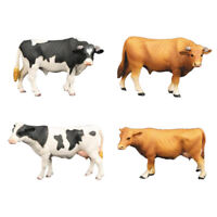 4pcs Art Creativity Animal Figurines Toy Cow Durable Plastic Model Kids Gift