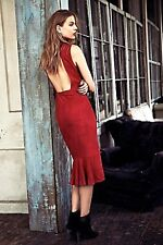 NEW Free People Jill Limited Edition Red Suede Cut Out Back Ruffle Midi Dress 2