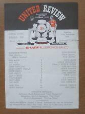 Manchester Utd v Middlesbrough, 11/11/1986 - Reserves Programme (Single Sheet).