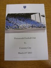23/03/2013 Portsmouth v Coventry City - Chimes Matchday Menu, Colour Four Pages.