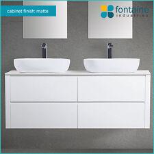 Bathroom Vanity 1500 Matte White Wall Hung Matt Satin Ceramic Double Basin Stone
