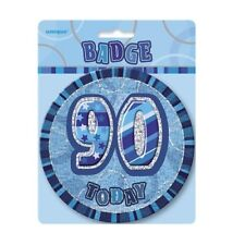 """Blue Glitz 90 Today 6"""" Giant 90th Birthday Badge Party Badges Decorations"""